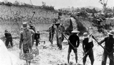 礦工開礦的情景